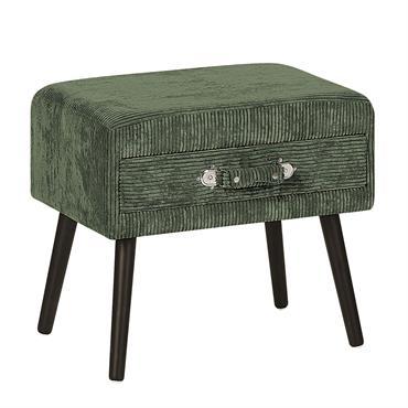 Table de chevet en velours côtelé vert