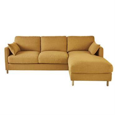 Canapé d'angle droit convertible 5 places jaune moutarde