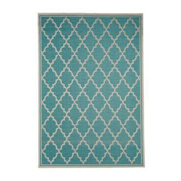 Tapis géométrique scandinave en polypropylène turquoise 135x190