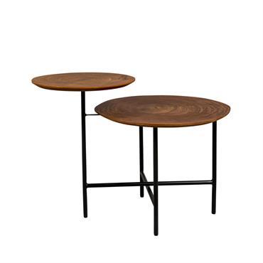 Table basse en bois foncé et métal