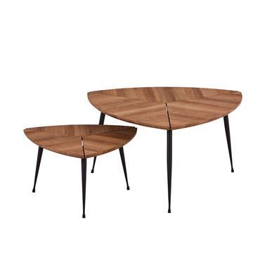 Lot de 2 tables gigognes en fibre de bois D70 et D48