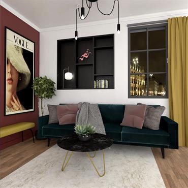 Une ambiance colorée avec une touche de « vintage » pour ce joli salon parisien.  Domozoom