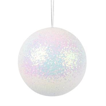 Boule de Noël blanche scintillante