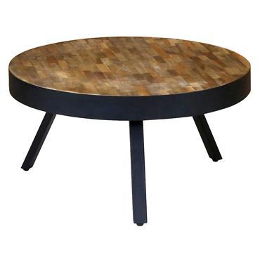 WOODY - Table basse teck recyclé et métal ronde Ø76 cm
