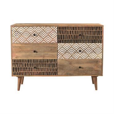 Commode en bois 6 tiroirs à motifs