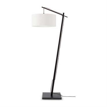 Lampadaire en bambou noir/lin H176cm
