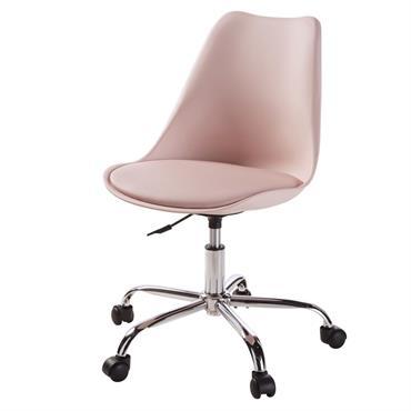Chaise de bureau à roulettes rose Bristol