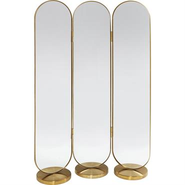 Paravent en acier doré et verre miroir