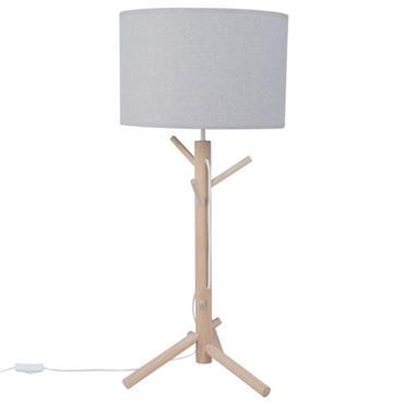 Lampe en chêne et abat-jour gris
