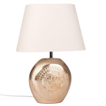 Lampe en céramique doré mat et abat-jour blanc