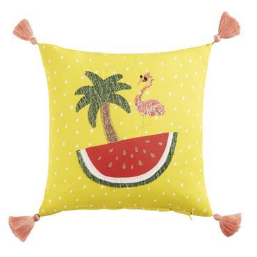 Créez un espace cosy dans la chambre de votre fille avec le coussin à pompons jaune 40x40 TROPICOOL . Palmier, pastèque et flamant rose : rien n'a été oublié pour ...