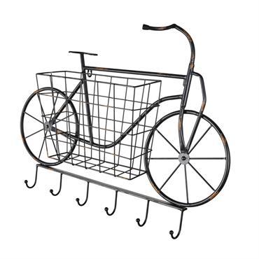 Rangement mural bicyclette panier et crochets en métal