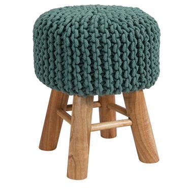 Tabouret tricot en coton vert céladon