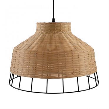 Suspension bambou naturel et métal noir