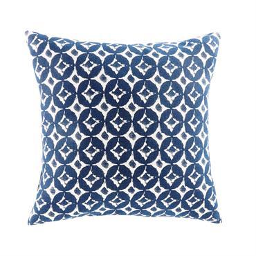 Coussin en coton motifs graphiques bleus 45x45