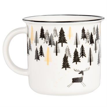 Mug en faïence blanche imprimé forêt