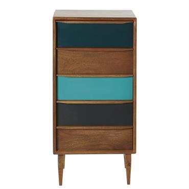 Originalité et fonctionnalité sont les maîtres mots pour décrire le cabinet 5 tiroirs en manguier JAINERO . Ce que l'on aime chez lui ? Ses pieds obliques qui lui assurent ...