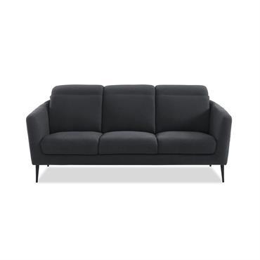 Canapé 3 places en tissu gris  piètement en métal noir
