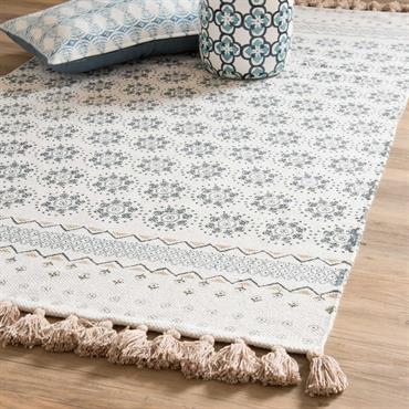 Tapis à franges en coton blanc motifs bleus 90x150cm TOULON