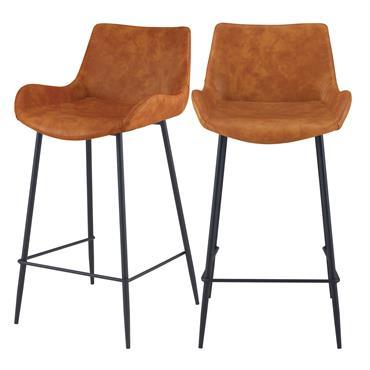 Chaise de bar mi-hauteur 65cm en cuir synthétique camel