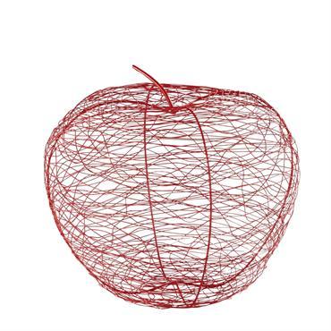 Statuette pomme en fil de métal rouge H39