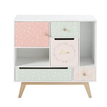 Cabinet de rangement vintage enfant 1 porte 4 tiroirs Bucolique