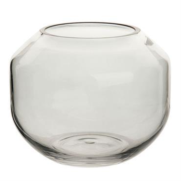 Vase en verre teinté gris H9