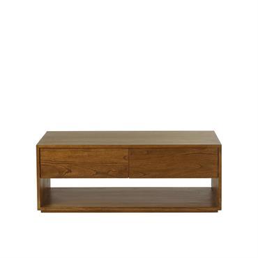 Table basse 4 tiroirs finition noyer