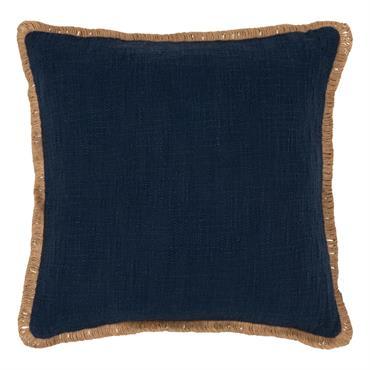 Coussin bleu bordure beige 45x45