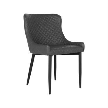 Chaise moderne en simili cuir avec accoudoirs Gris