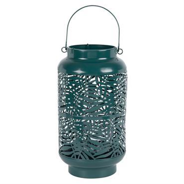 Lanterne en métal ajouré motifs feuillages verts