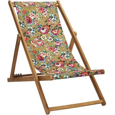 Apportez un vent nouveau à vos jardins et terrasses avec la chilienne pliante en bois d'acacia DEVI doré. Également appelé Transat, cette chaise longue est dotée d'une toile outdoor amovible. ...
