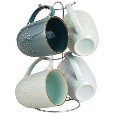 4 mugs en faïence bleue avec support