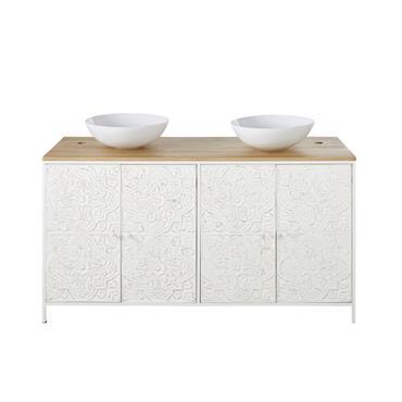 Un souffle exotique s'empare de votre salle de bains avec le meuble double vasque 4 portes en manguier et métal blanc sculpté KALOA . Parfait pour créer une ambiance dépaysante ...