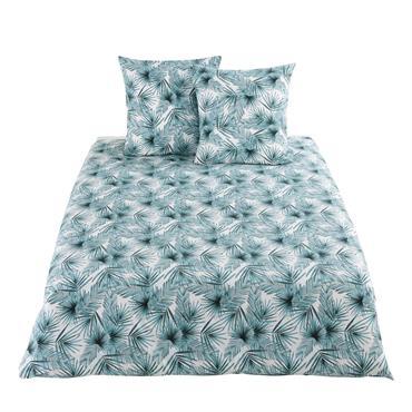 Parure de lit en coton motifs feuilles tropicales 220x240