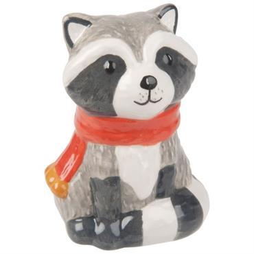 Statuette raton laveur en céramique grise H8