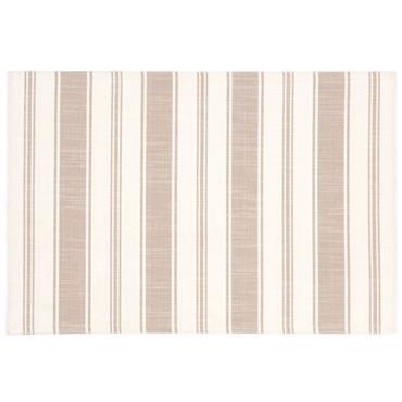 Set de table en coton motifs à rayures blancs et taupe