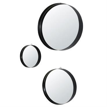 Miroirs ronds en métal noir D54