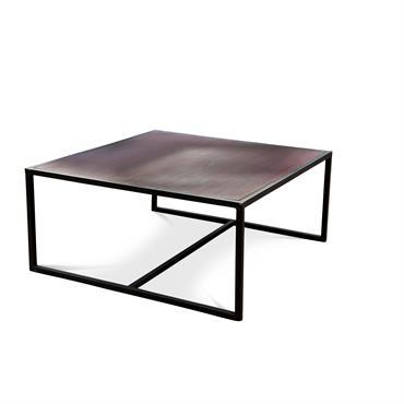 Table basse industrielle en bois marron