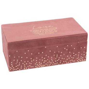 Boîte à bijoux en velours rose