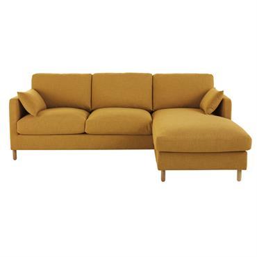 Canapé d'angle droit 5 places jaune moutarde Julian