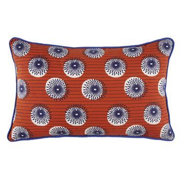 Coussin d'extérieur en coton orange à motifs multicolores 30X50