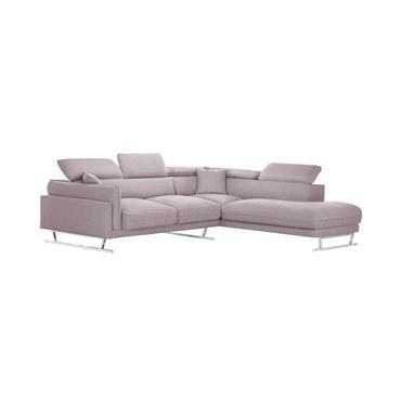 Canapé d'angle droit 6 places toucher lin rose poudré