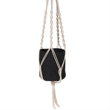 Cache-pot suspendu en jute noire et macramé blanc H