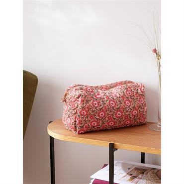 Trousse de toilette tissu indien fleuri rose