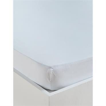 Drap-housse uni coton lavé blanc
