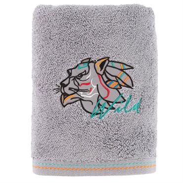 La serviette de toilette Wild est composée de bouclette de coton granité brodée 600g/m² de couleur grise. De délicates surpiqûres de couleur orange et céladon parent le liteau en dessous ...