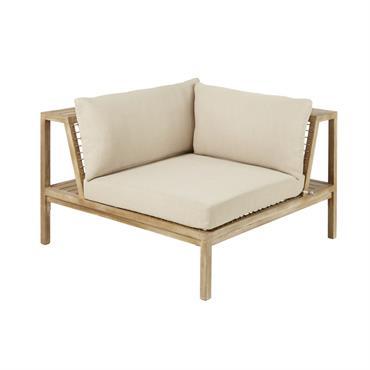 Angle de canapé de jardin en résine tressée et toile taupe clair Maupiti