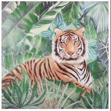 Toile imprimé tigre 80x80