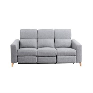 Canapé de relaxation scandinave électrique 3 places en tissu gris